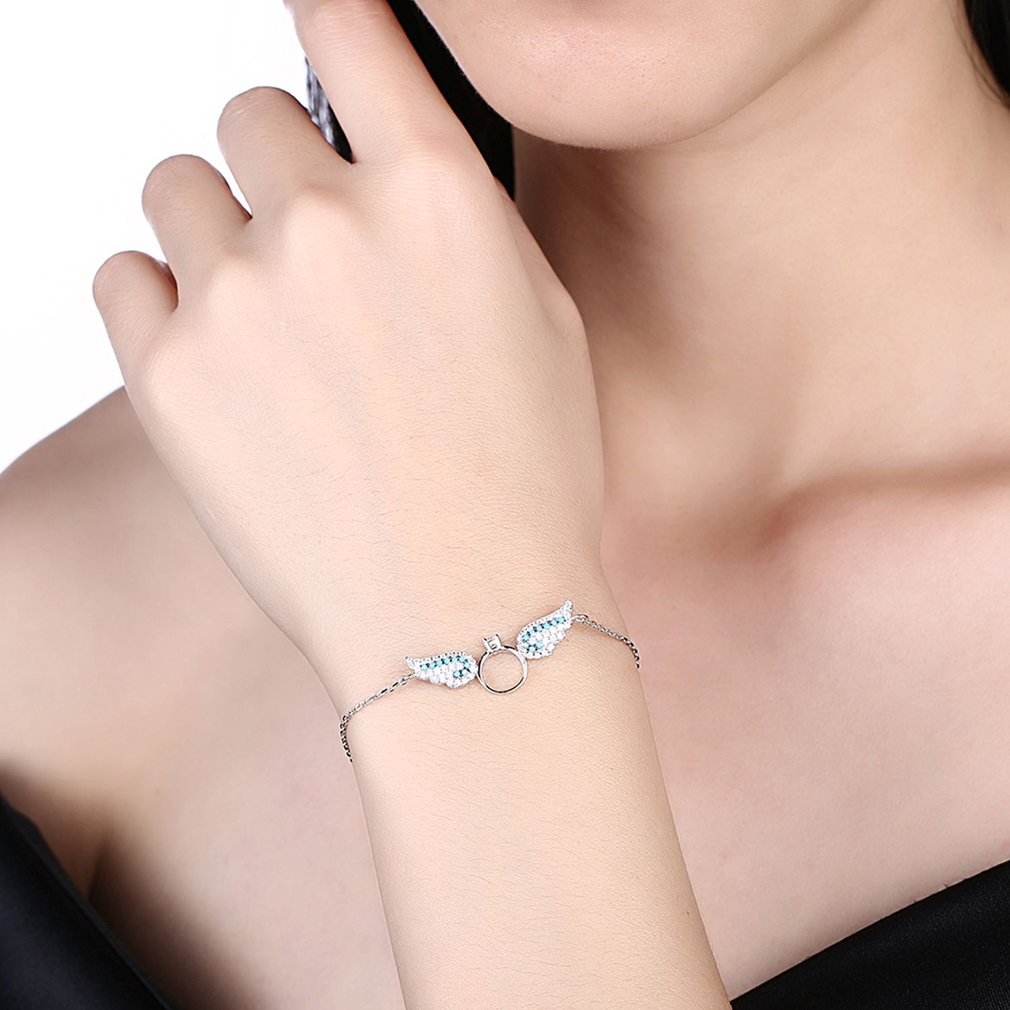 Elegant Women Zircon Angel Wing Pendant Bracelet Charming Ladies Bracelet Bangle Fine Jewelry Vintage for Gift