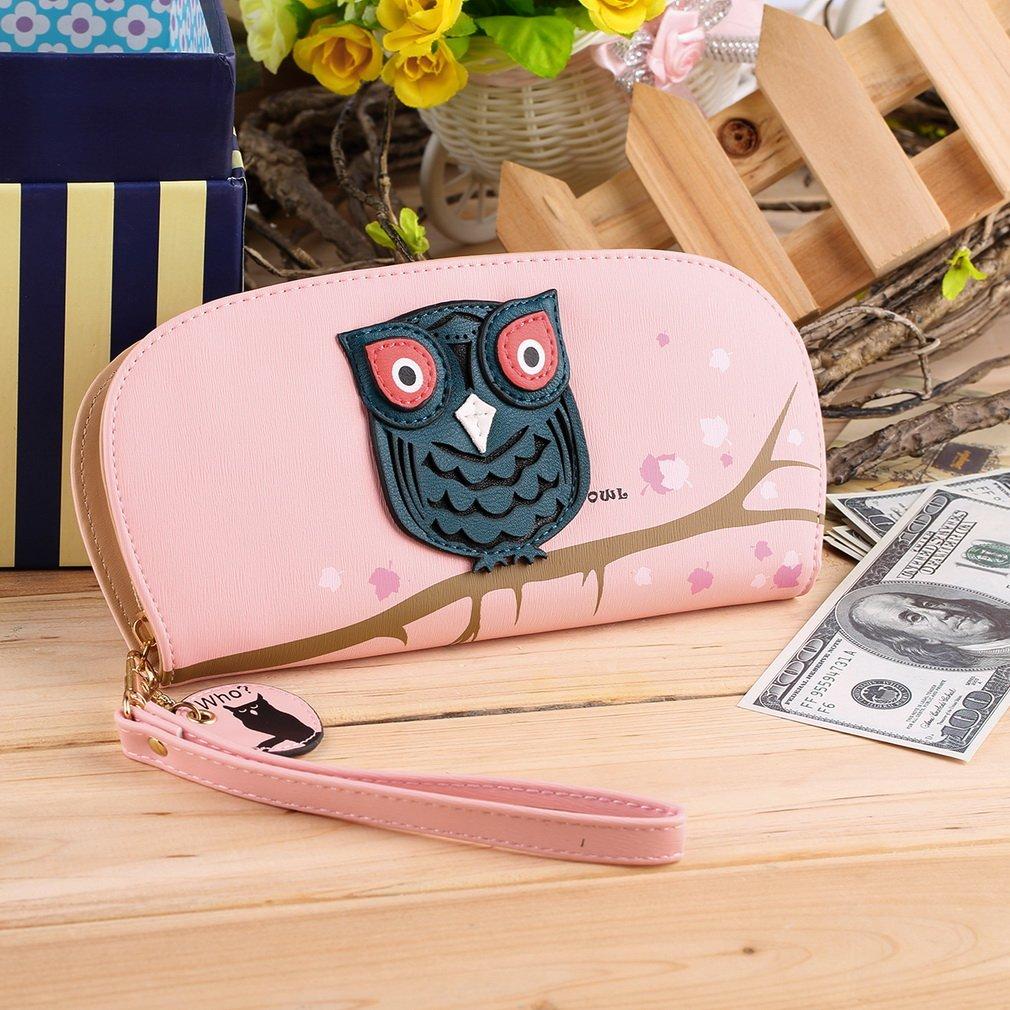 Cute Owl Hollow 3D Printing Rounded Zipper Long Women Coins Clutch Wallet