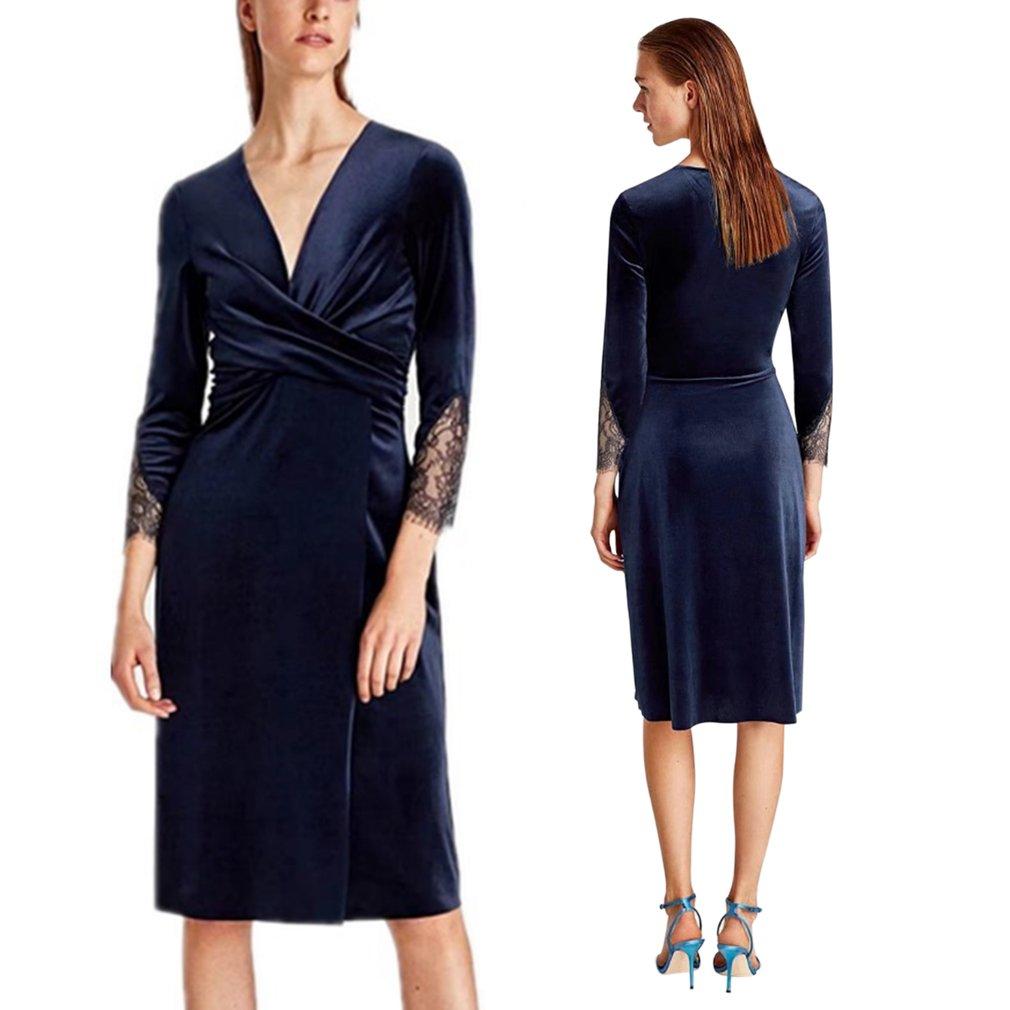 Fashion Women Velvet Dress Lace Trim Sleeve Sexy Cross V-Neck Ladies Dress