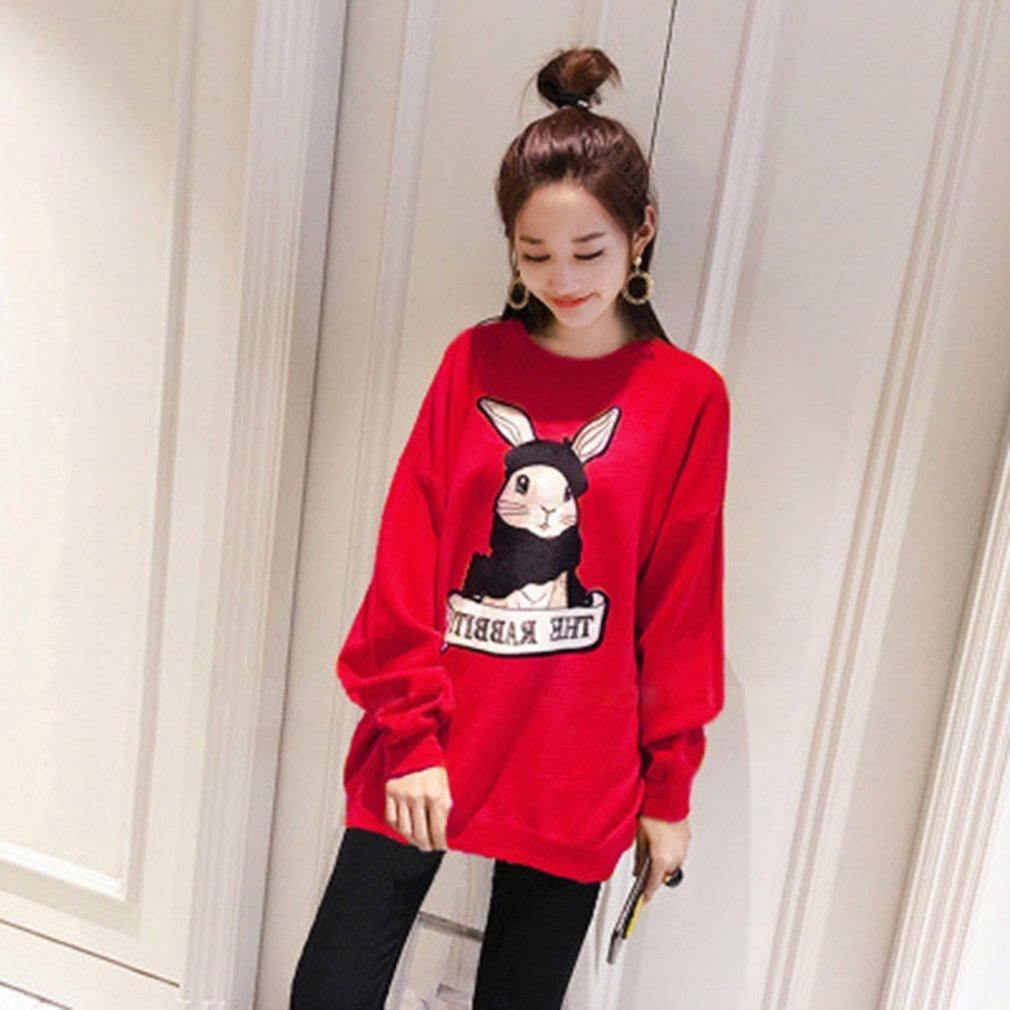 Long Section Long-sleeved Sweatshirt Dress with Cartoon Rabbit Print For Women