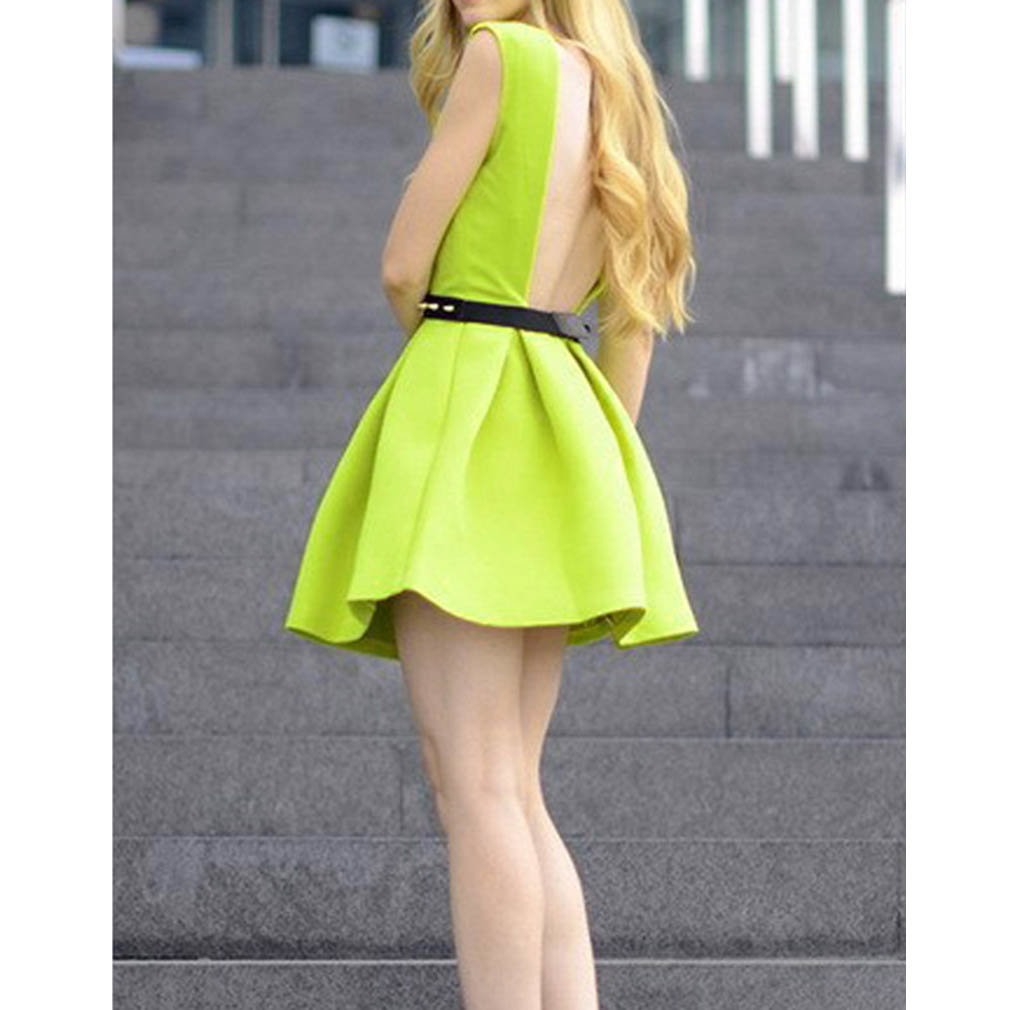 New Women Sexy Pleated Skater Skirt Evening Party Mini Dress Neon Green