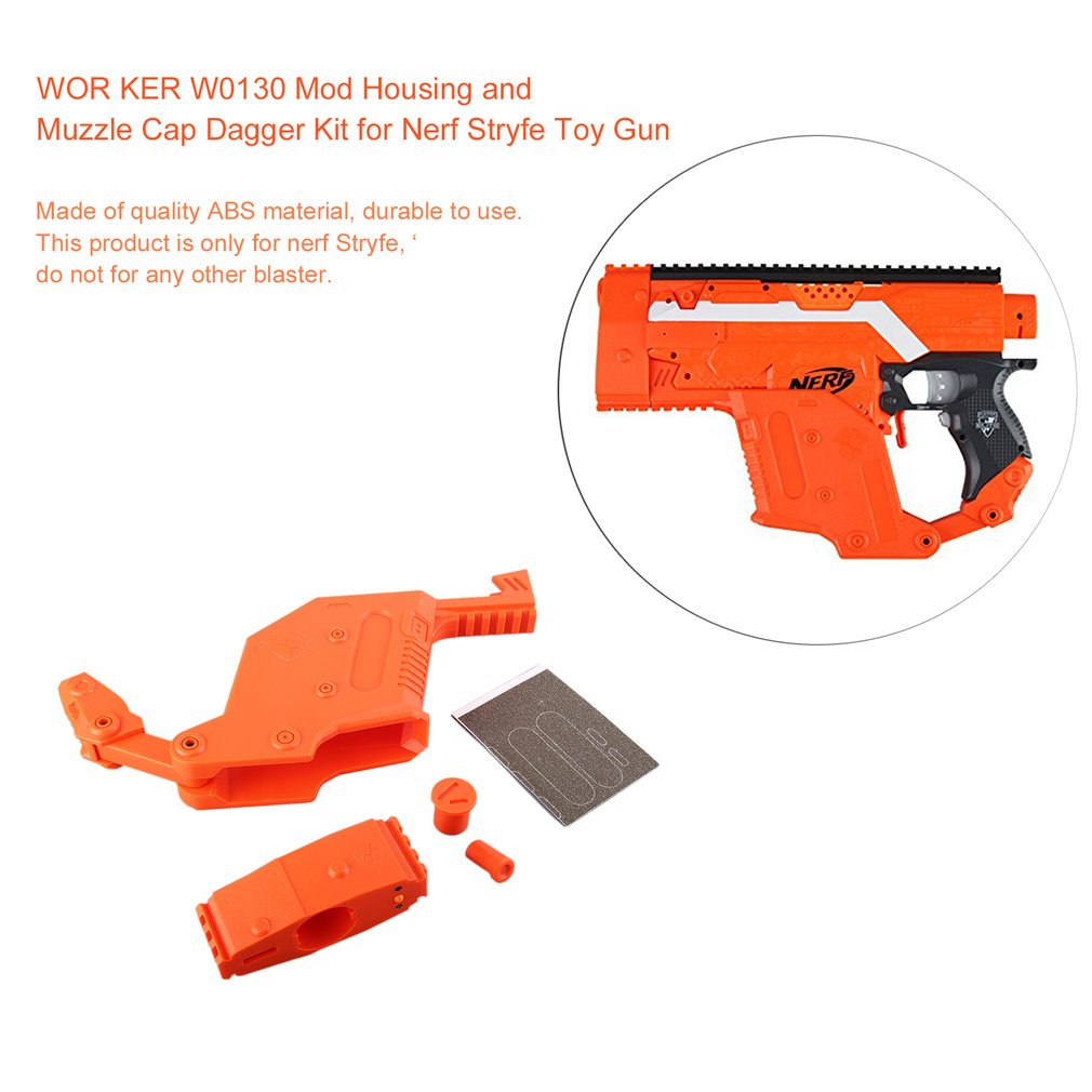 WOR KER W0130 Mod Housing and Muzzle Cap Dagger Kit for Nerf Stryfe Toy Gun