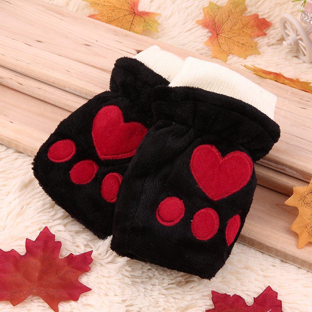winter cute cotton gloves half finger Korean female lovely thick gloves