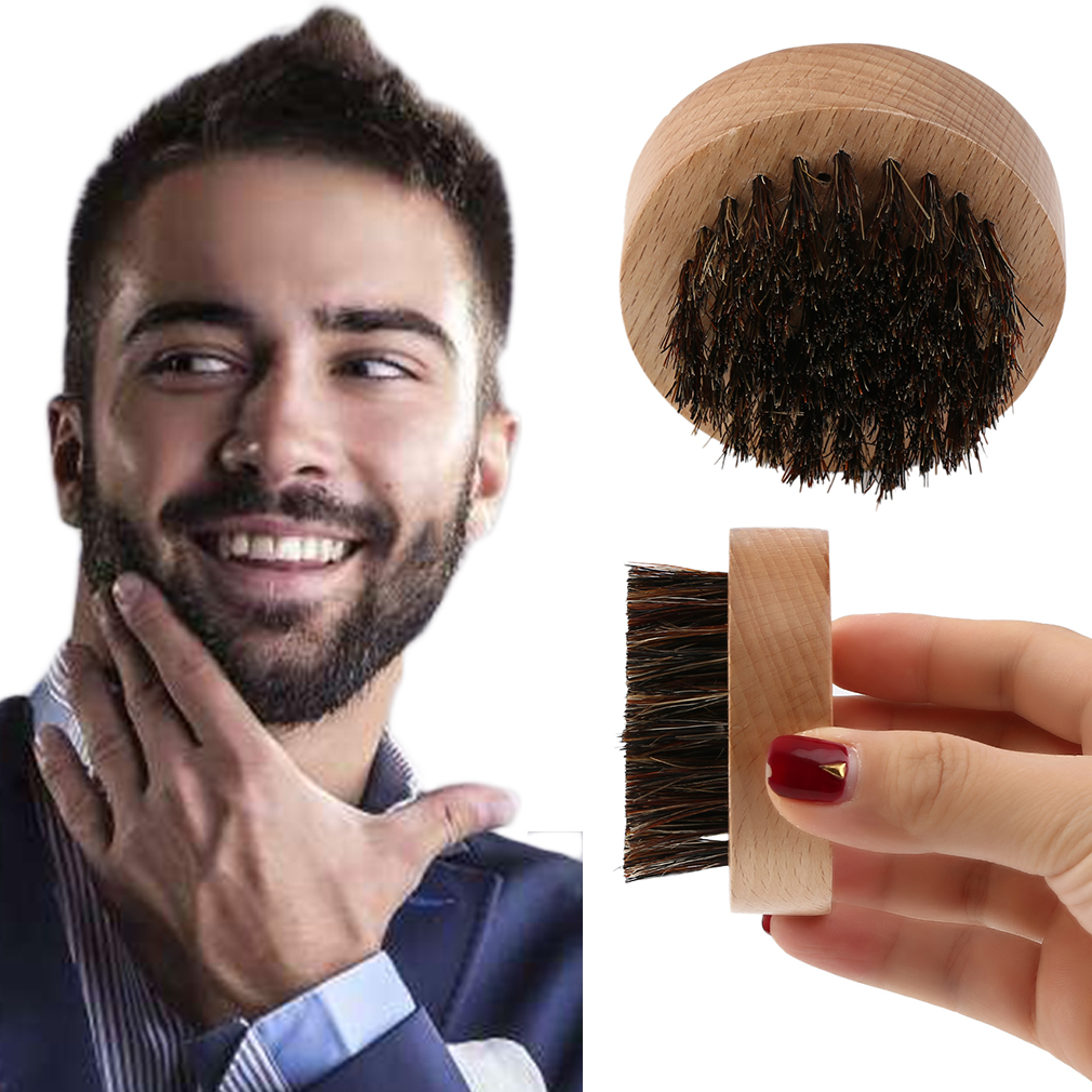 Wood+Boar Hair Beard Brush Facial Hair Comb for Mustache Conditioning Styling