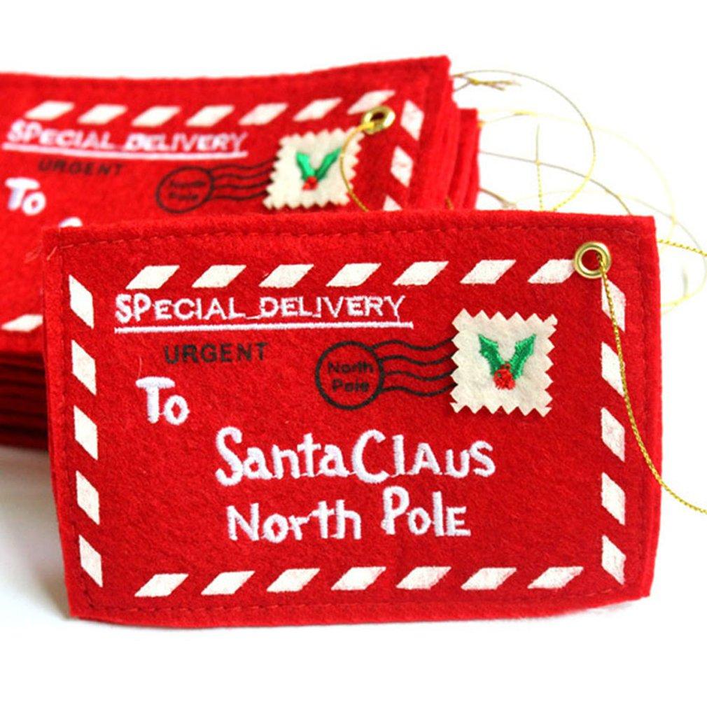 10pcs Santa Claus Letter Envelope Card Candy Bag Christmas Hanging Ornament