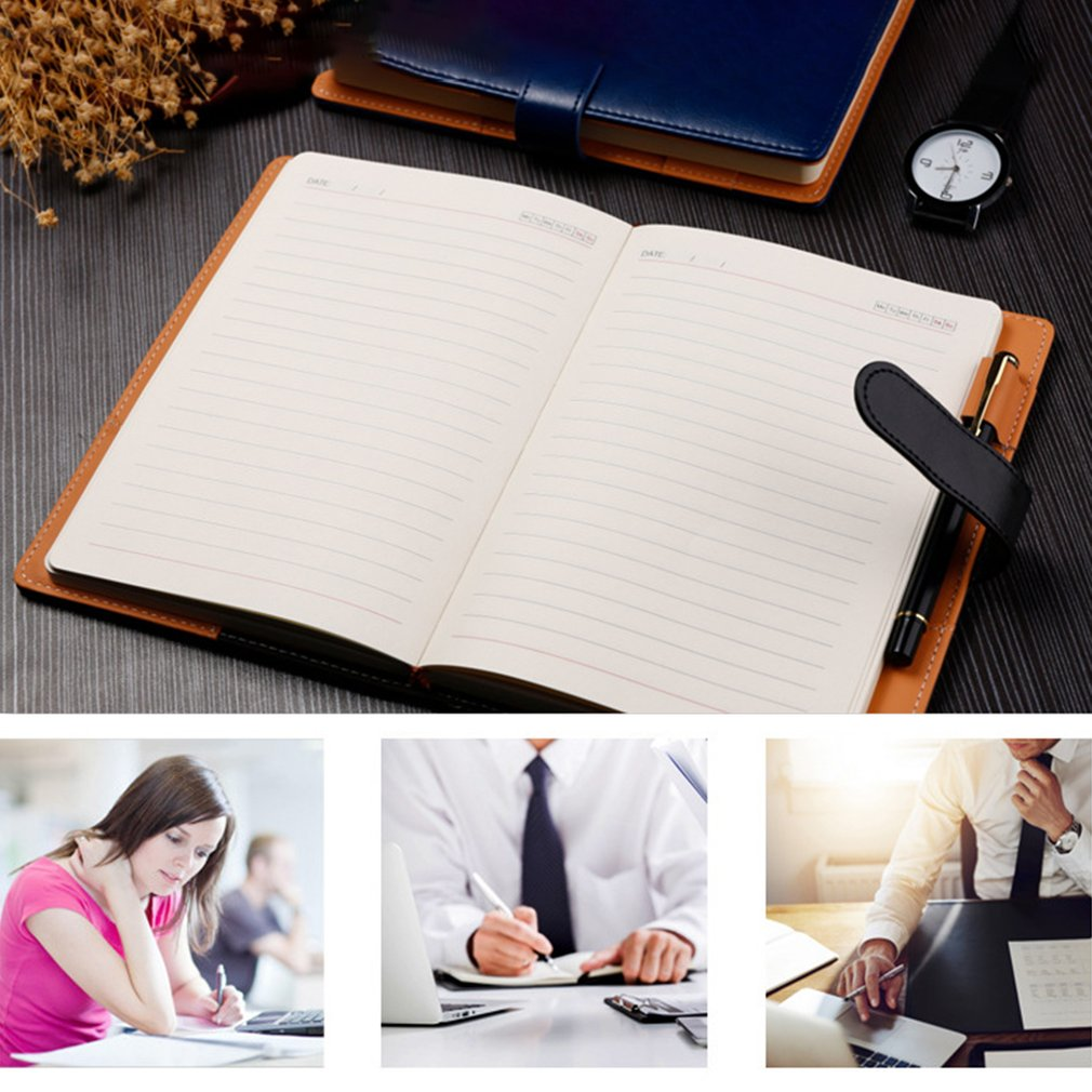 A6 PU Leather Cover Students Diary Journal Notebook Time Planner Notepad