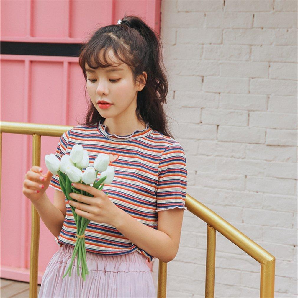 Hollow Heart-shaped Stripe T-shirt Summer Shirt With Round Collar For Women