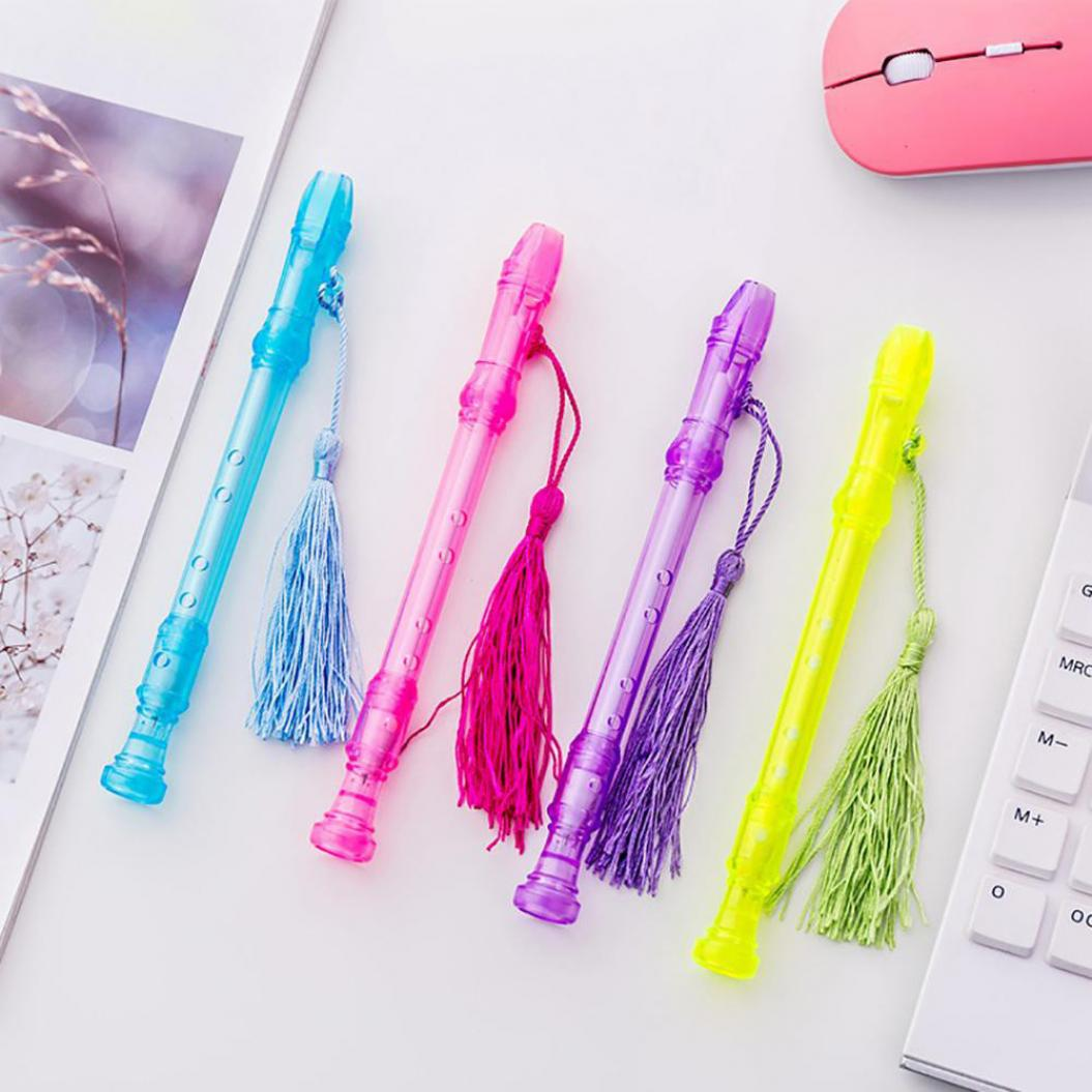 0.5mm Flute Shape Tassel Pendant Whistle Ink Gel Writing Pen Student Stationery