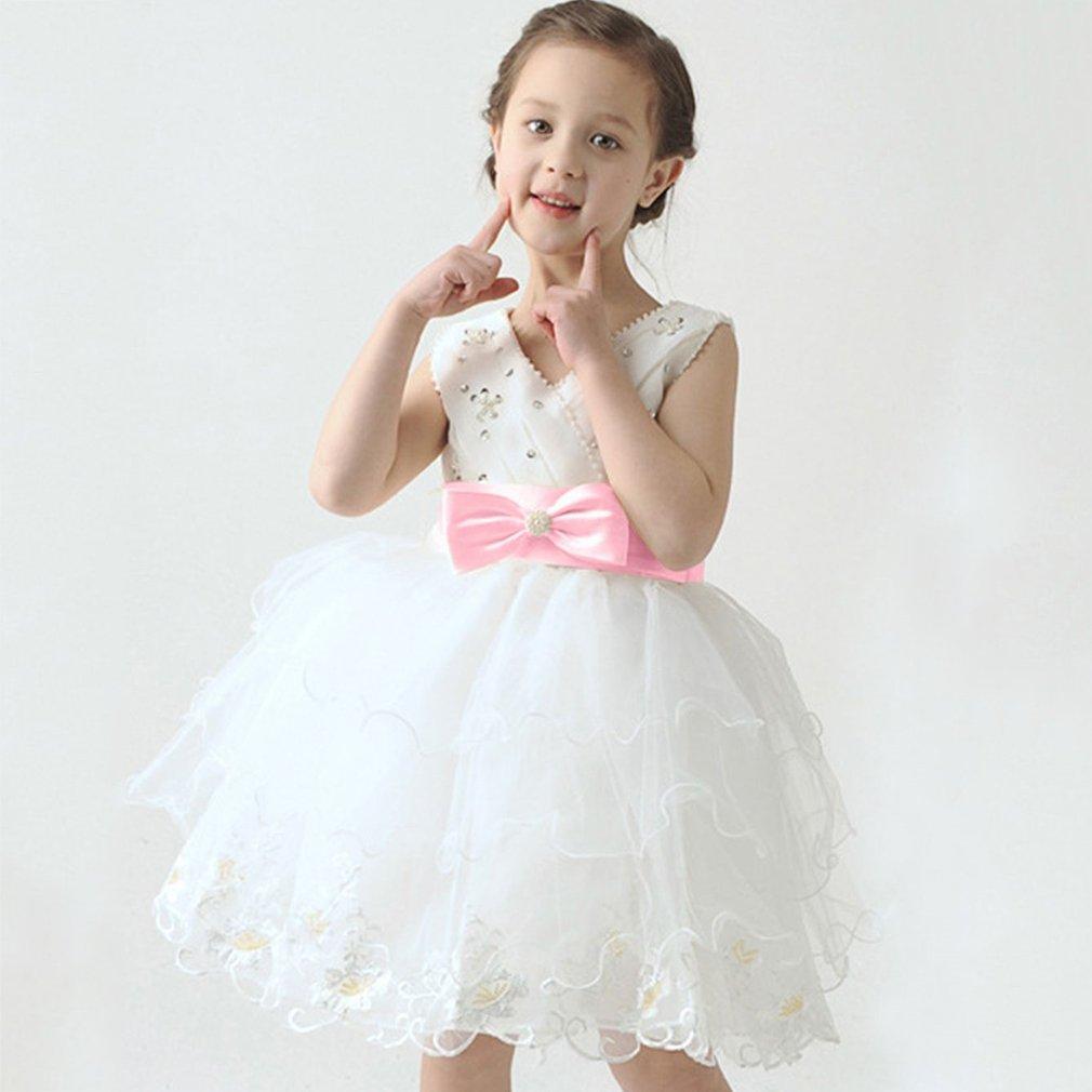Sleeveless Girl Summer Dress Party One-Piece Dresses White Princess Dress