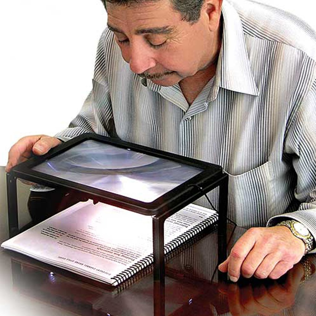 Foldable 3X Full Page Magnifier Convenient Magnifying Glass With LED Light