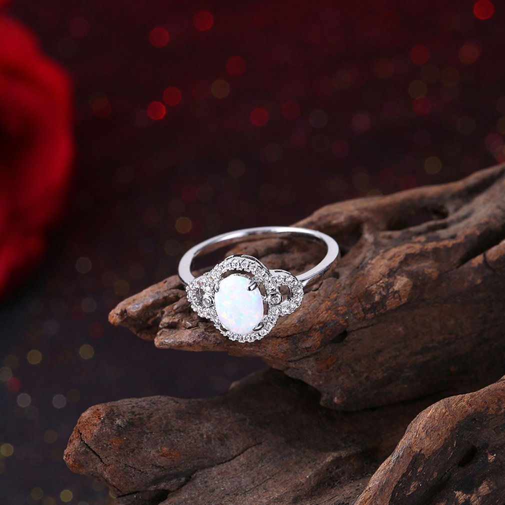 Round Stone Decoration Women Finger Rings Wedding Ring Unique Jewelry Ring