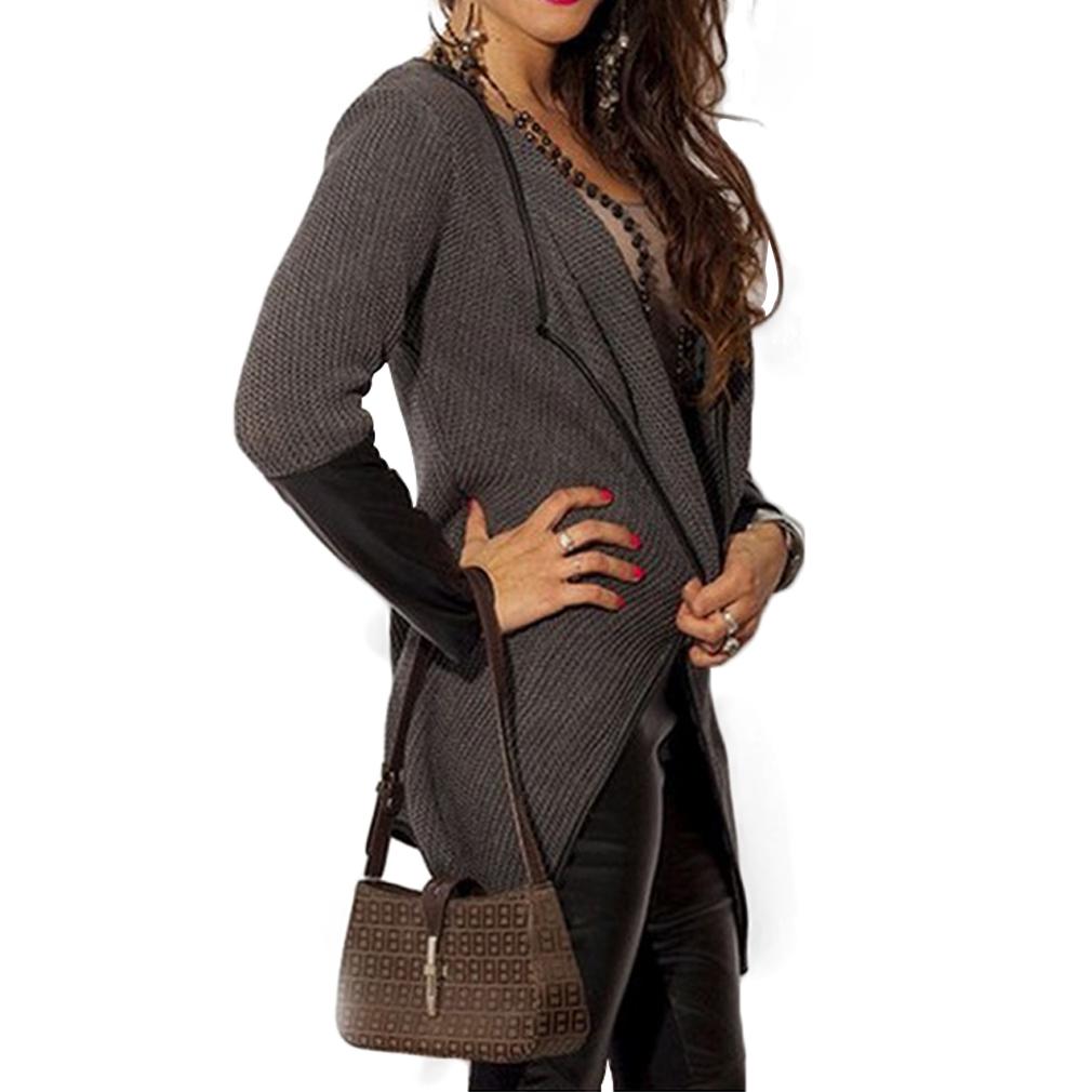 Fashion Women Casual Slim Long Sleeve Leather Blouse Outwear Coat Cardigan
