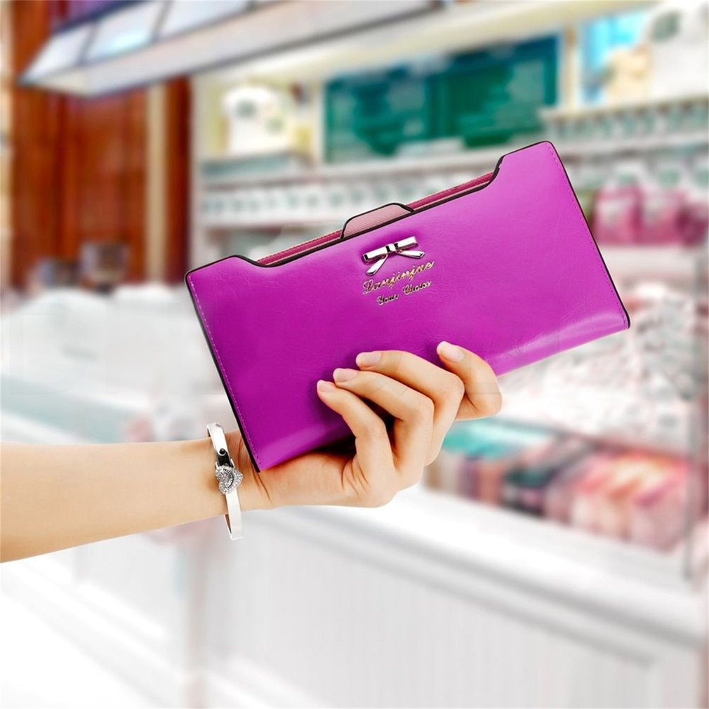 New Fashion Lady Women PU Leather Bowknot Wallet Long Card Holder Case Purse