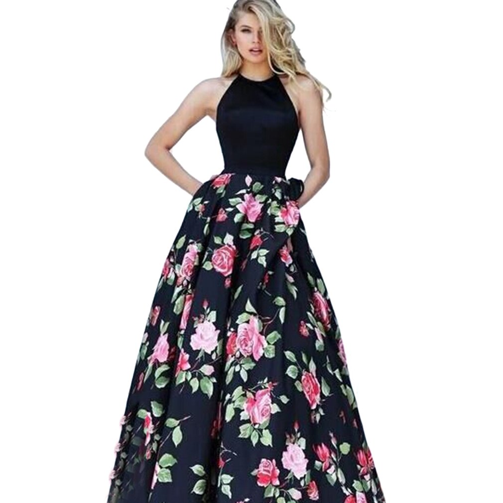 Fashion Woman Dress Sleeveless Backless Sexy Halter Dress Floral Printed Large Swing Wedding Party Dress Clothing