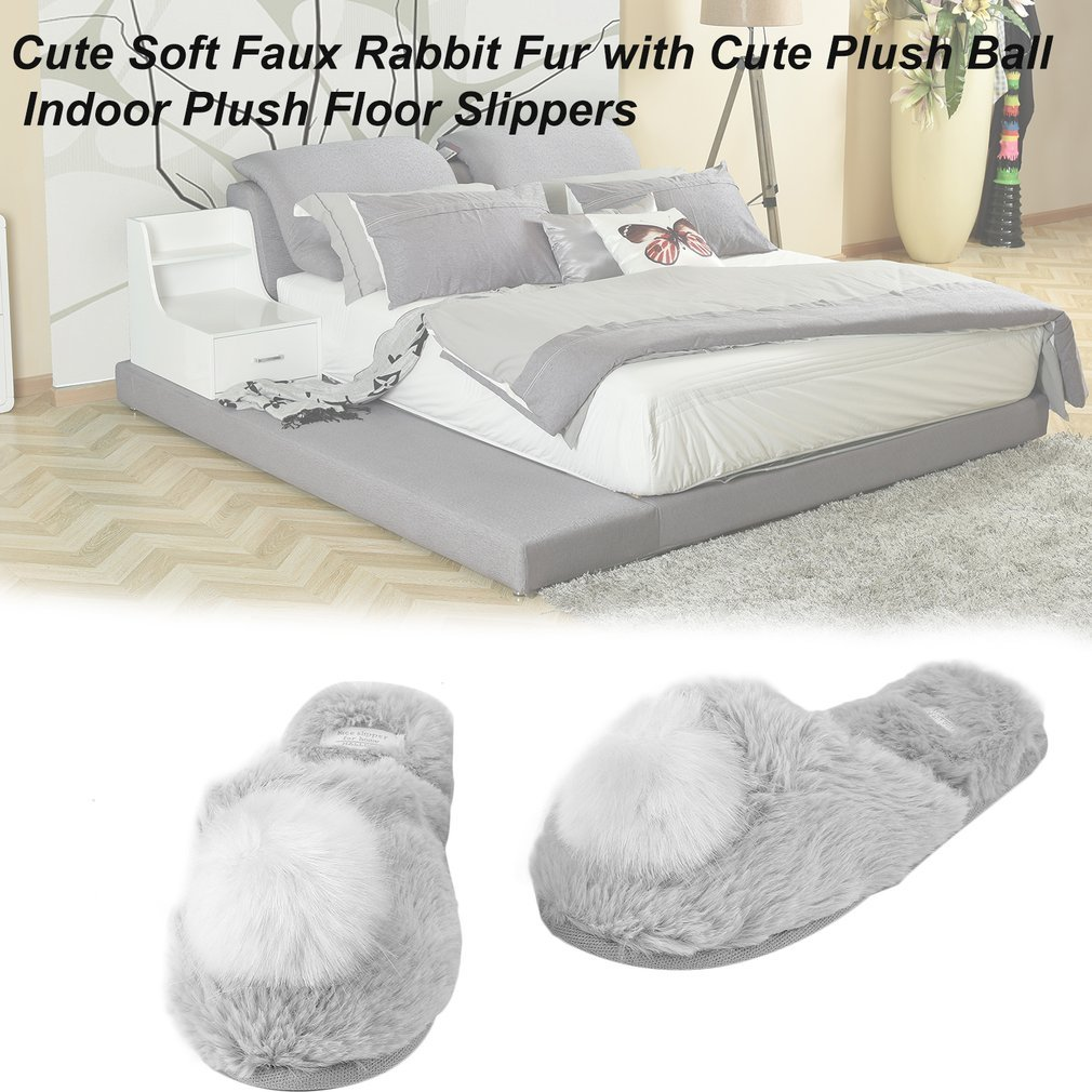 Cute Soft Faux Rabbit Fur with Cute Plush Ball Indoor Plush Floor Slippers