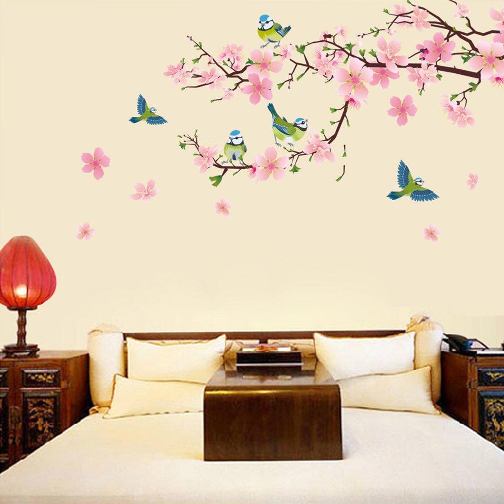 PVC Peach Blossom Pattern Living Room Bedroom Wall Sticker Removable DIY