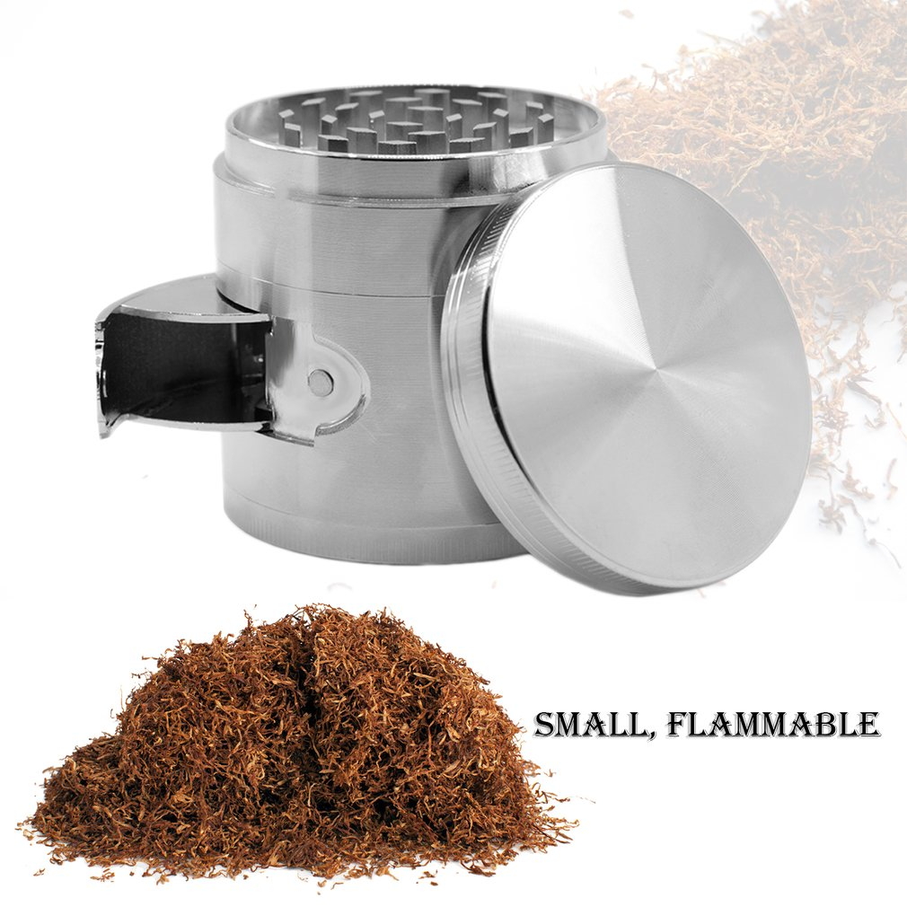 Stylish Zinc Alloy Herb Herbal Grinder With Side Open Smoking Accessories
