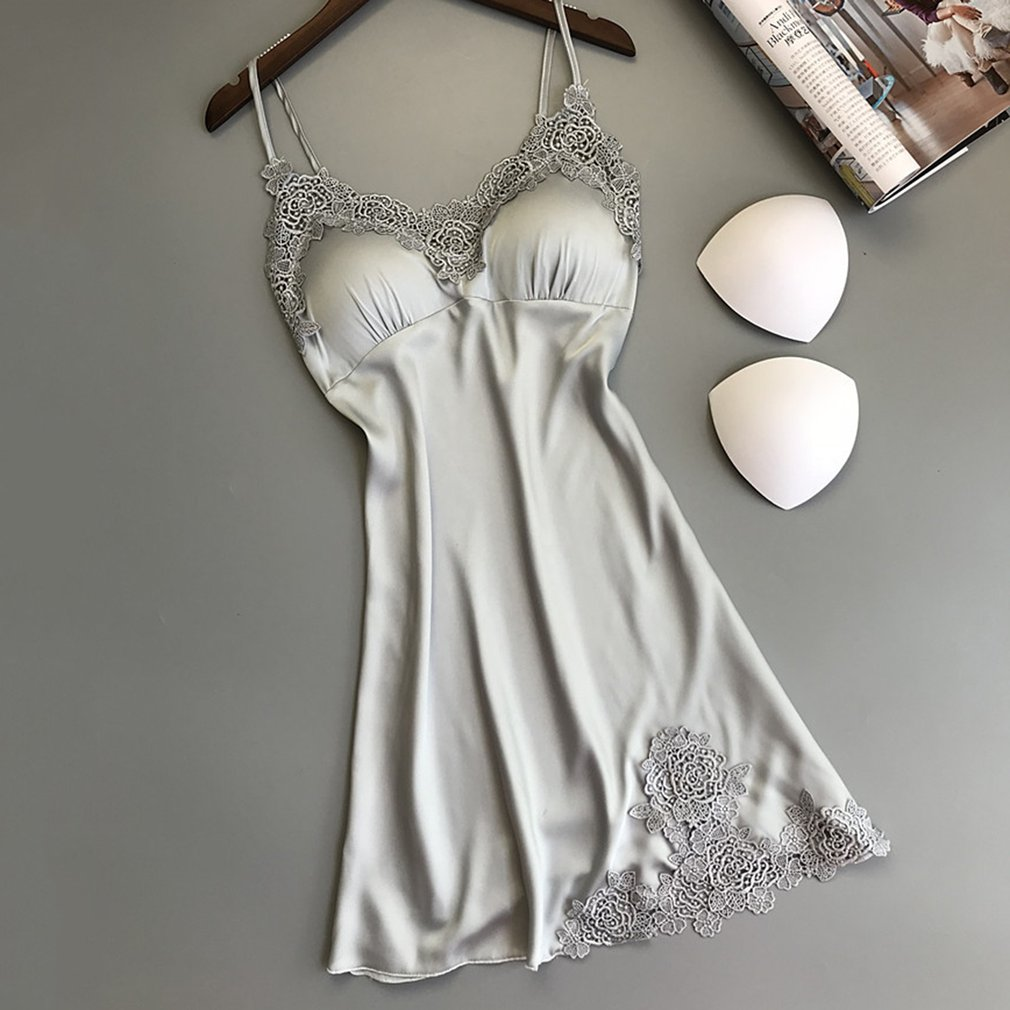 Sexy Women Sleeveless Night Gown Comfortable Lace Embroidery Ladies Nightdress