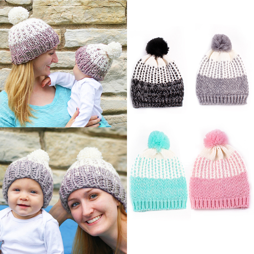 2Pcs/Set Knitted Warm Winter kids Hat Mommy and Baby Children Headwear caps