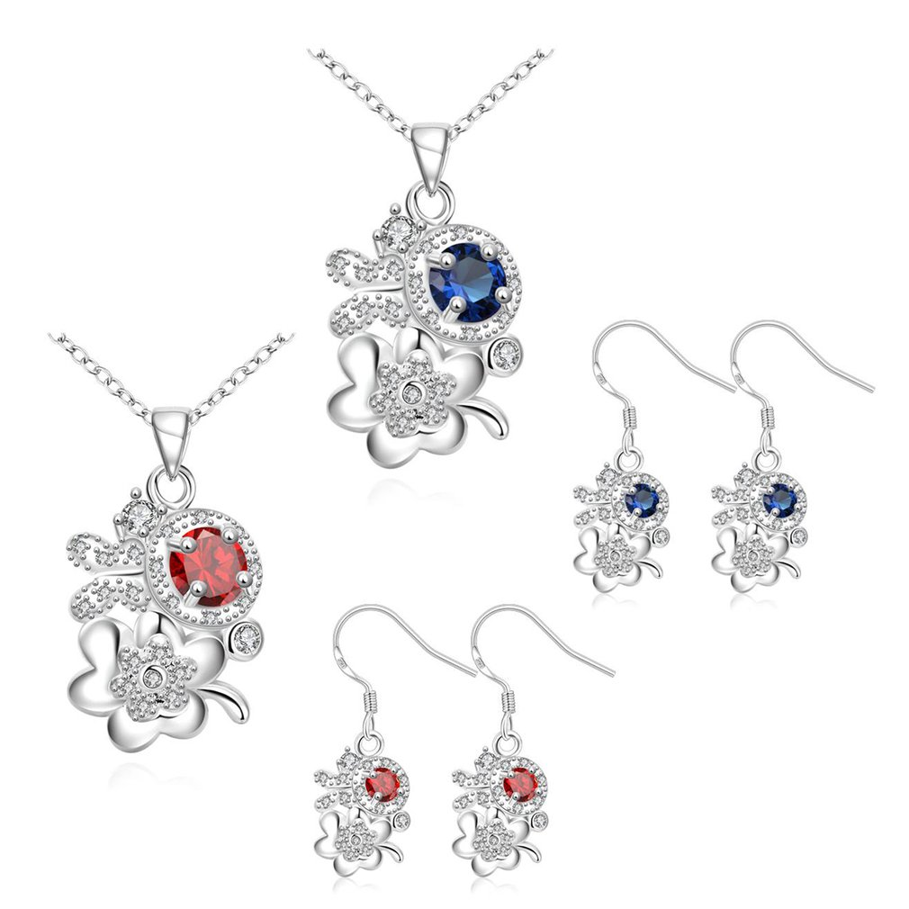 Romantic Flower Shape Pendant Exquisite Jewelry Set Woman Link Chain Necklace And Earring All-match Style For Wedding Gift