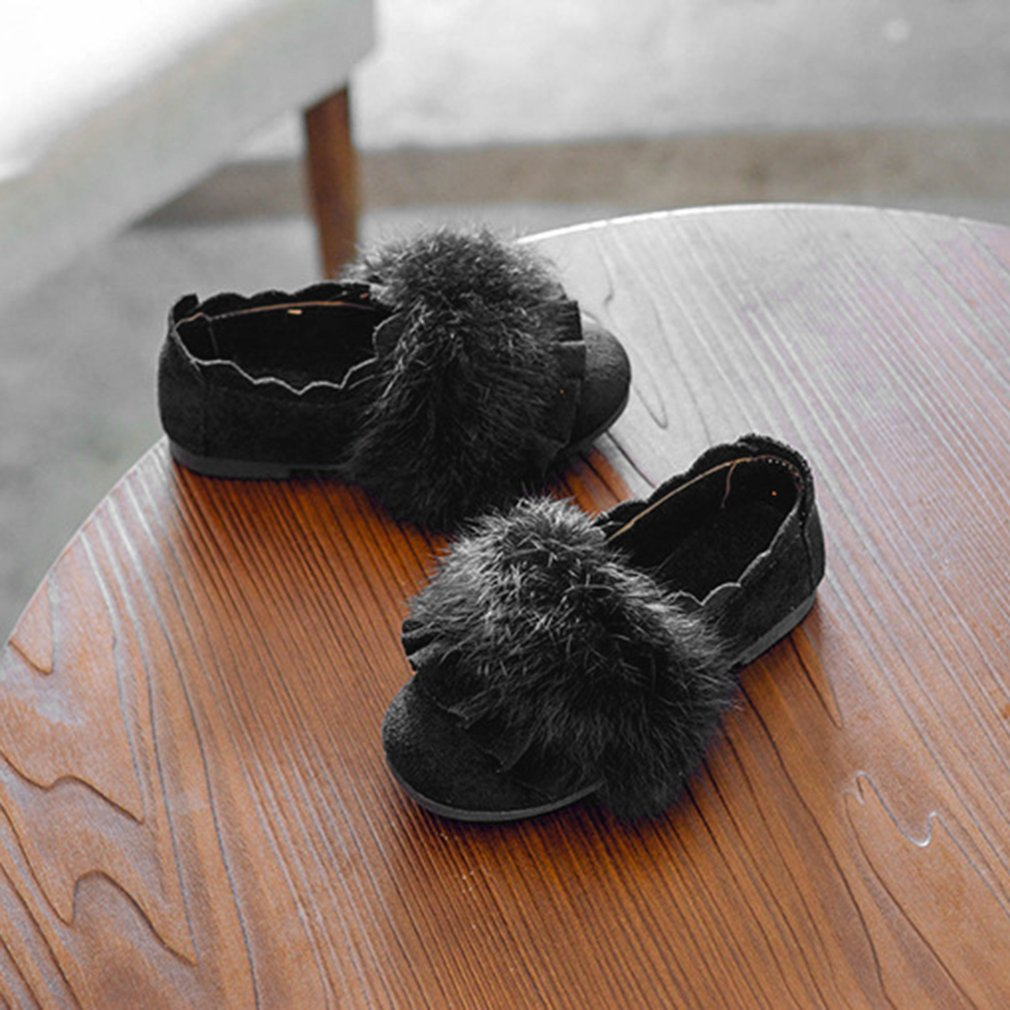 Solid Color Slip-On Nude Shoes PU Leather Flat Shoes With Fluff Decor for Girl