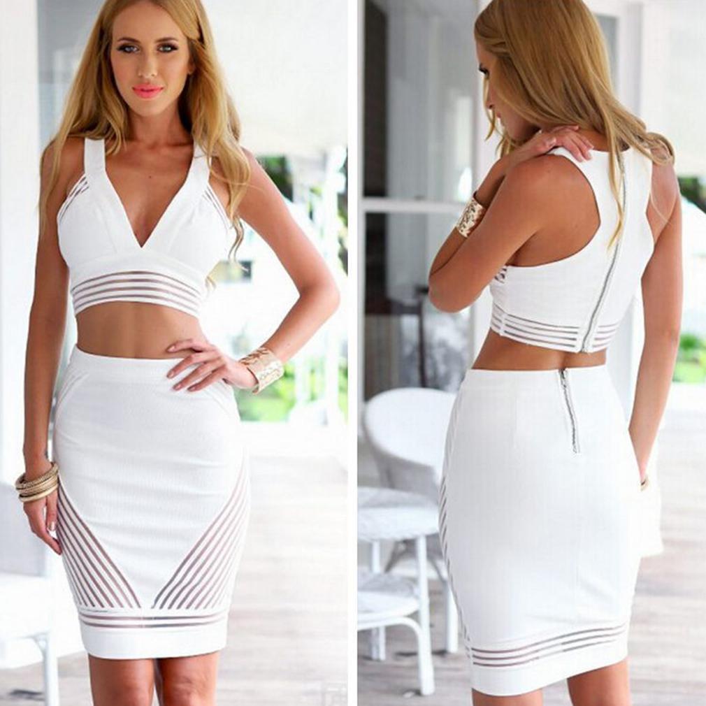 Women's 2 Piece Bodycon Vest and Skirt Set, White