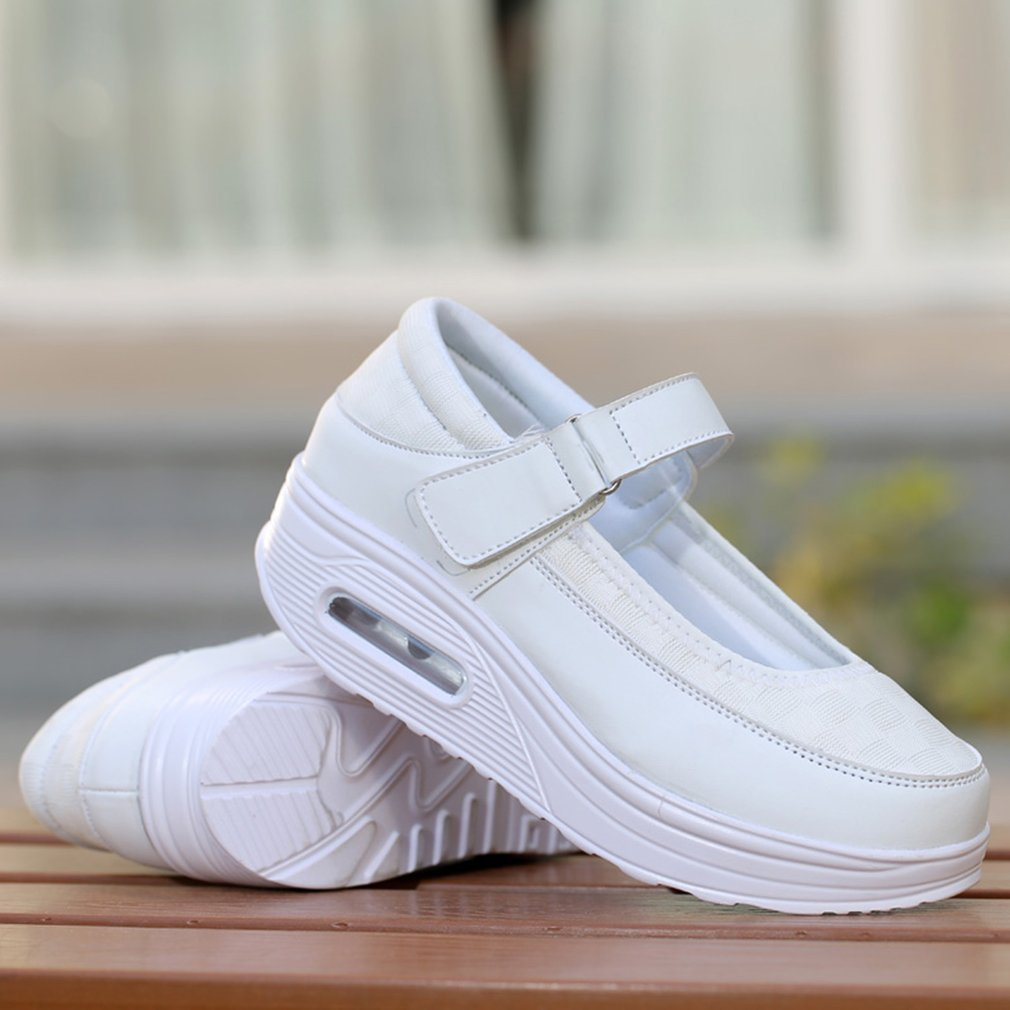 Summer Women Mesh Platform Swing Wedges Shoes Breathable Casual Shoes Walking Sneaker Female Height Increasing Shoes