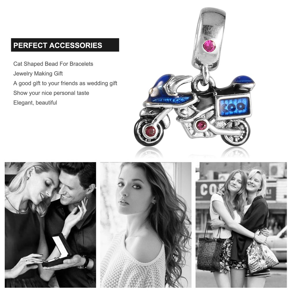 Women Motorcycle Shaped Necklace Pendant Bead No Chain DIY Bracelets Jewelry