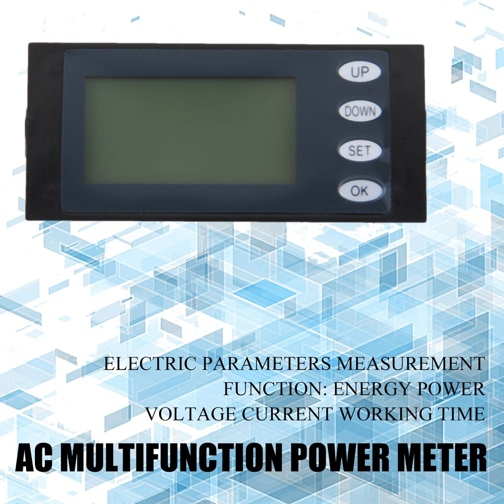 100A AC Digital LED Power Meter Voltage KWh Watt Meter with Coil Type CT