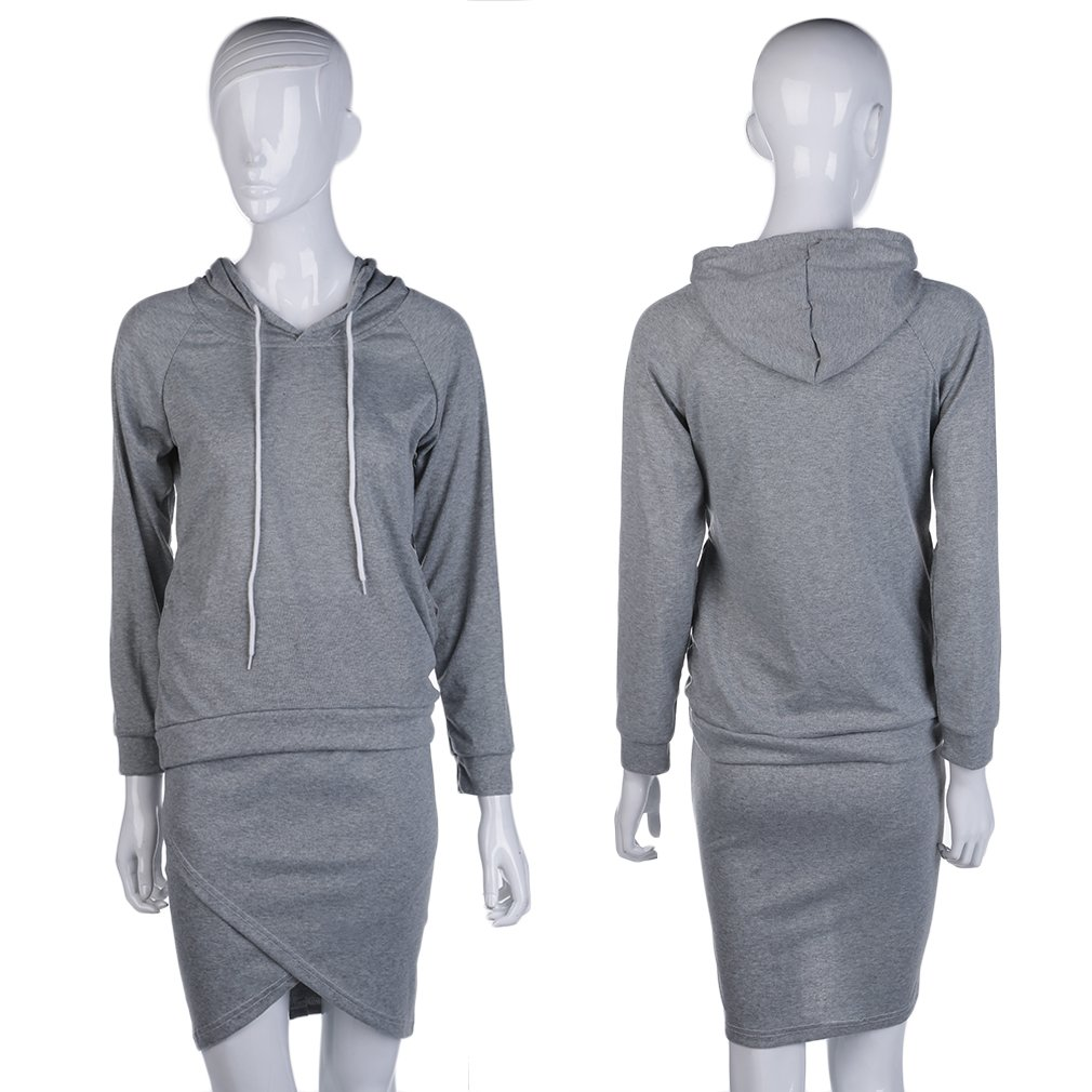 Women Hoodies Top Blouse + Irrigular Pencil Skirt Sports Suits Casual Autumn