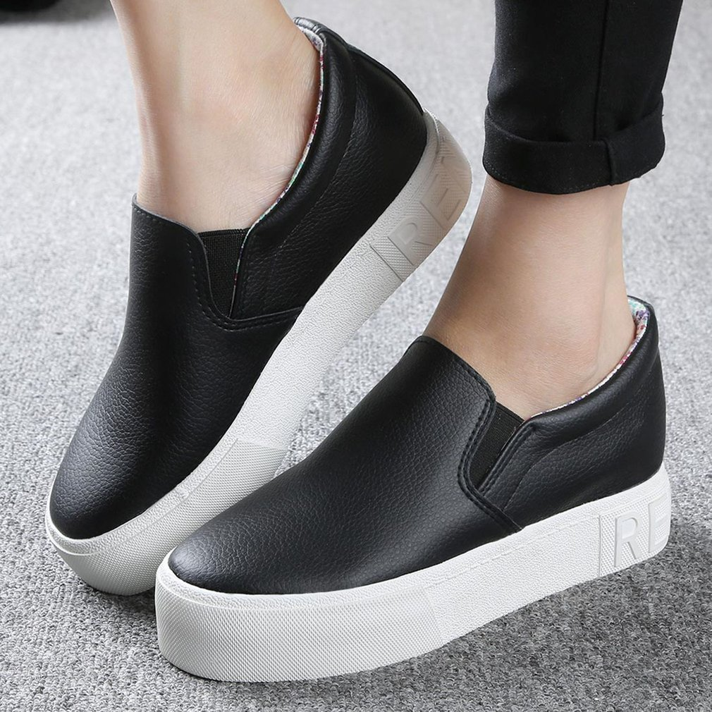 RENBEN 8329 Thick Crust Muffin Loafer Shoes Casual PU Women Leisure Shoes