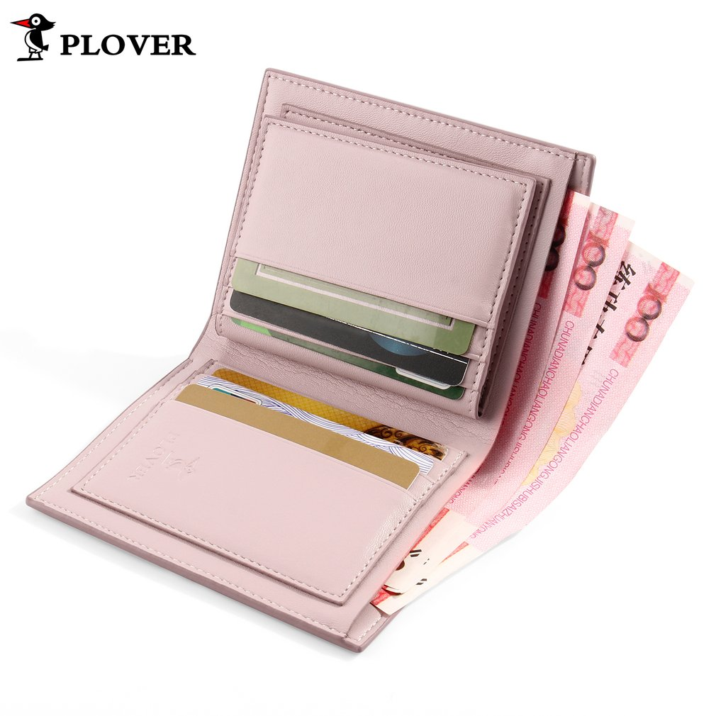 PLOVER GD5909-7NF Women Leather Multi-layers Short Wallet Pink with White