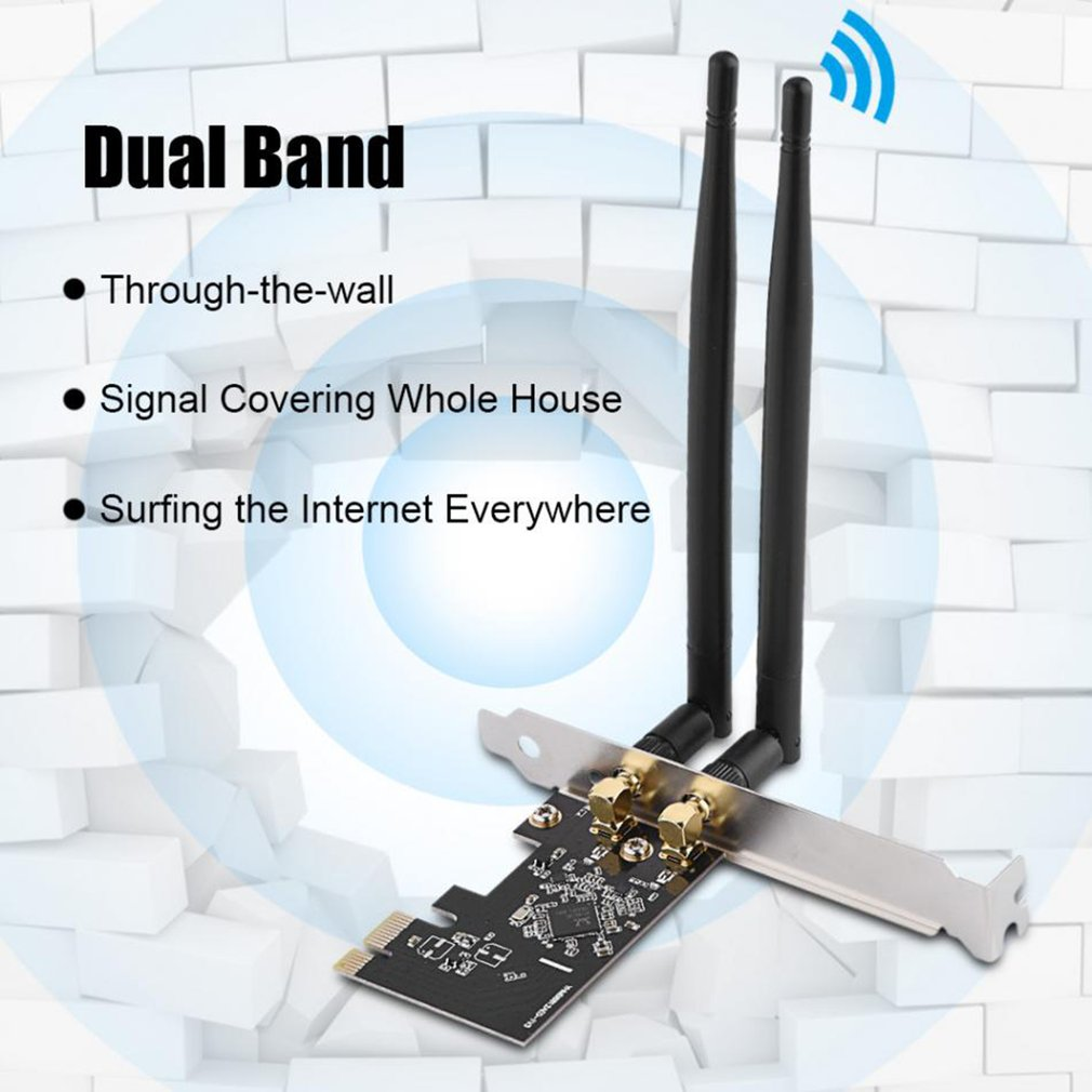 PCI Express Wireless Card Dual Band 1200Mbps WiFi Adapter Card with Antennas