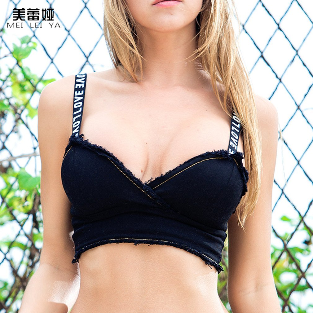 Meileiya 638 Letter Strap Summer Wild Bra Sexy Vest Camisole Denim Woman Tops