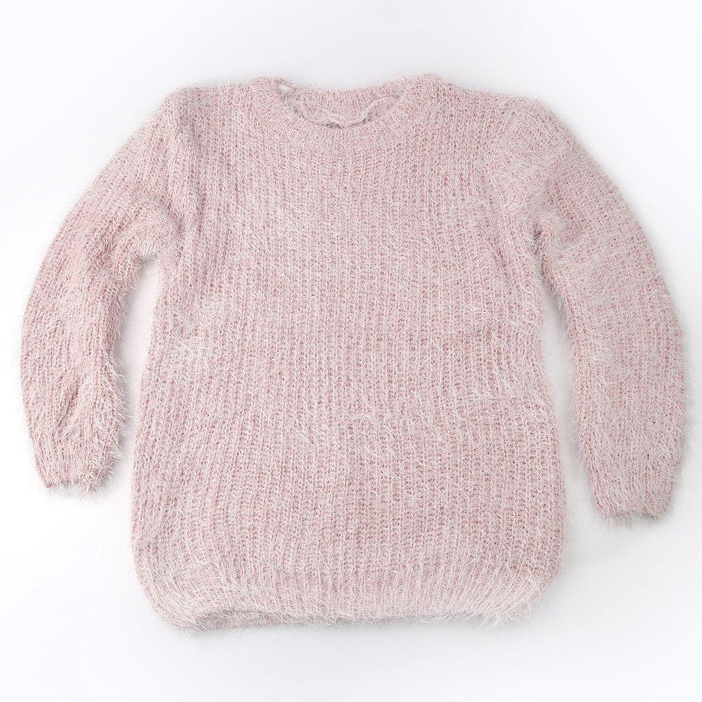 Candy Color Woman Mohair Round Collar Pullovers Sweater Long Sleeve Tops