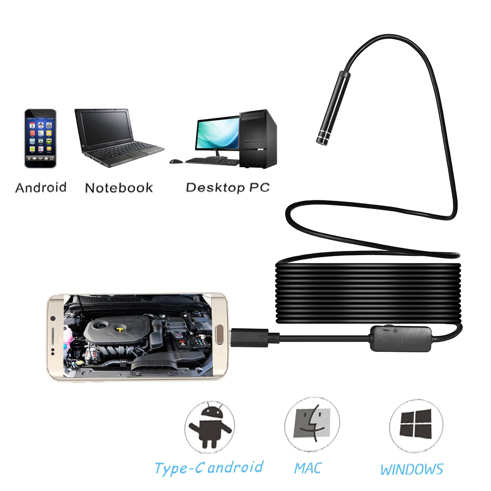 Waterproof IP67 7mm LED Lens Support For Android Endoscope 7M Length Cable