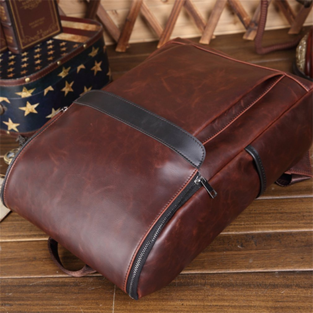 Outdoor Travel Backpack PU Leather Shoulder Pack Large Capacity Male Backpack