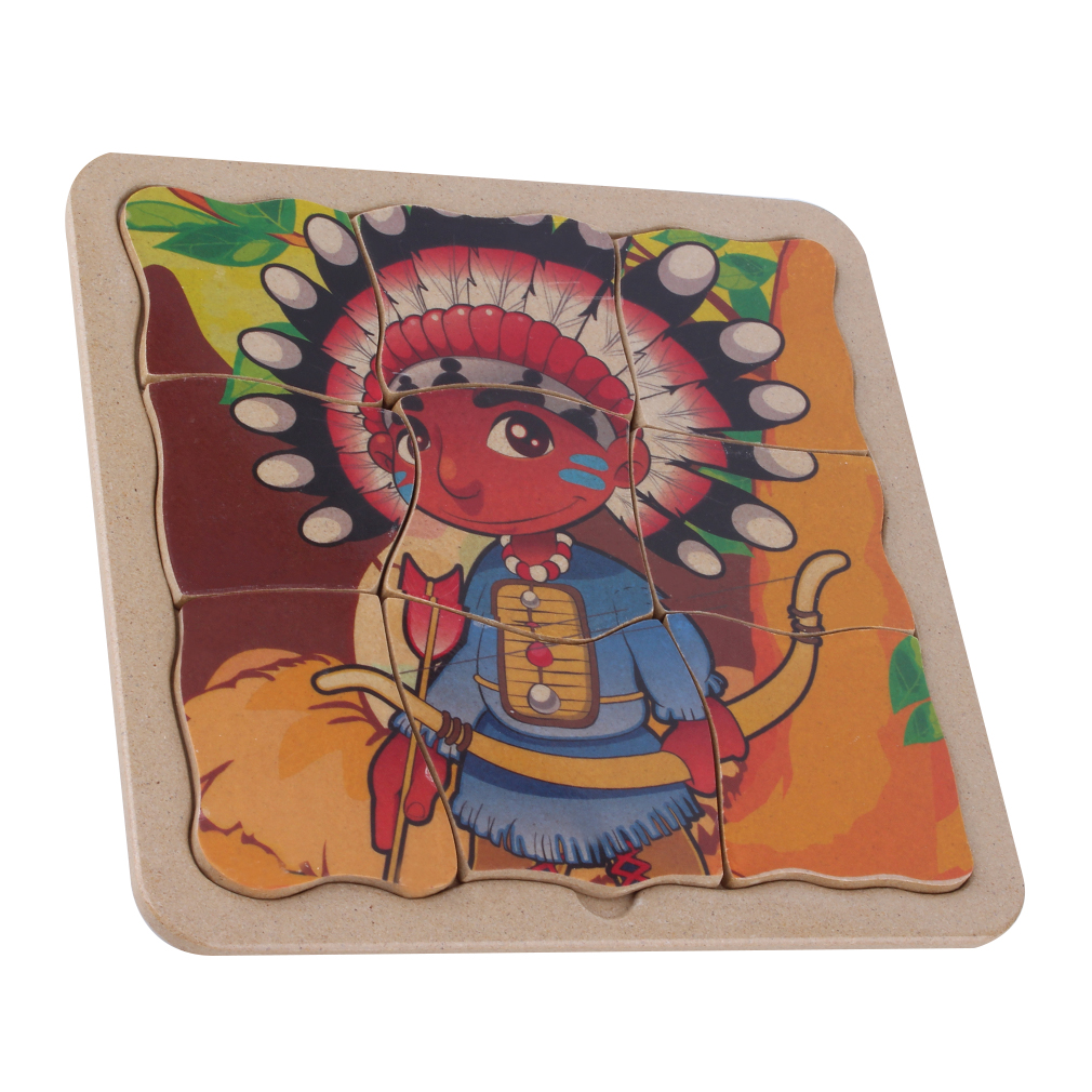 Indian Bow Block Puzzle Toy 9 Pieces Plate Kids Girl Boy Gift Ages 3+