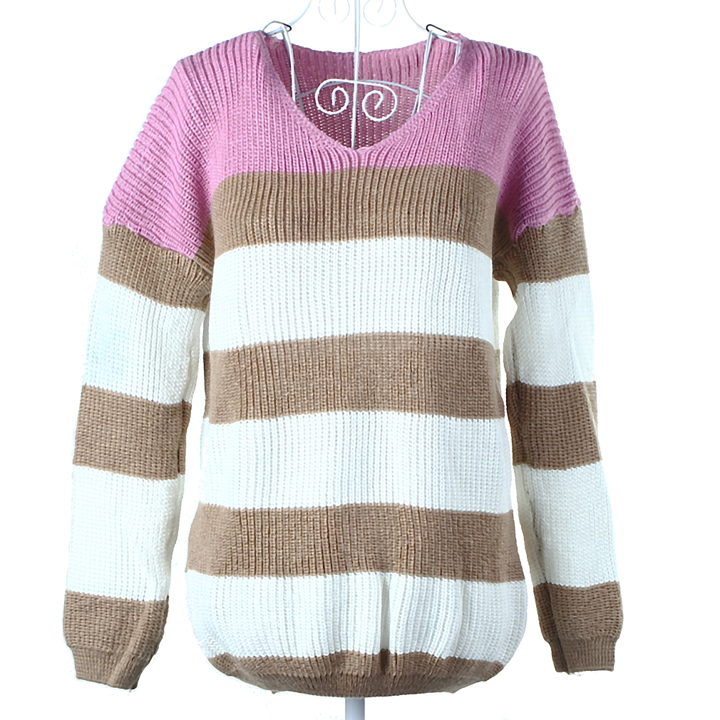 New Fashion Women Sweater V-Neck Striped Knitwear TOP Pullover Long Sleeve