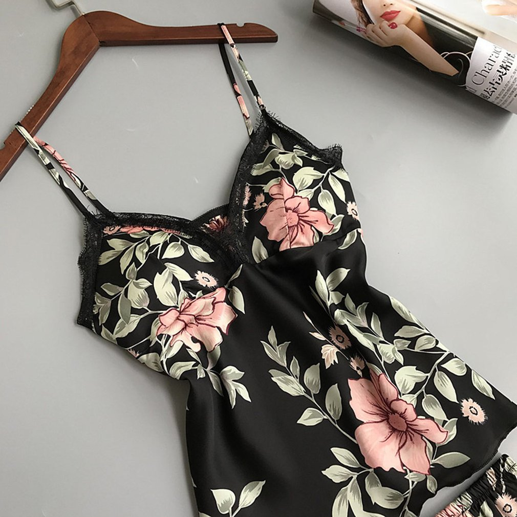 2PCS/SET Charming Women Silk Satin Nightwear Set Floral Printed Vest + Shorts