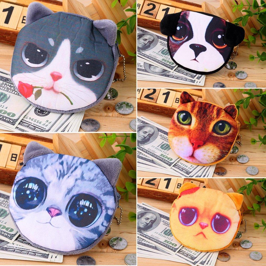 New Cute Cat Dog Face Zipper Case Coin Womens Purse Wallet Makeup Bag Pouch
