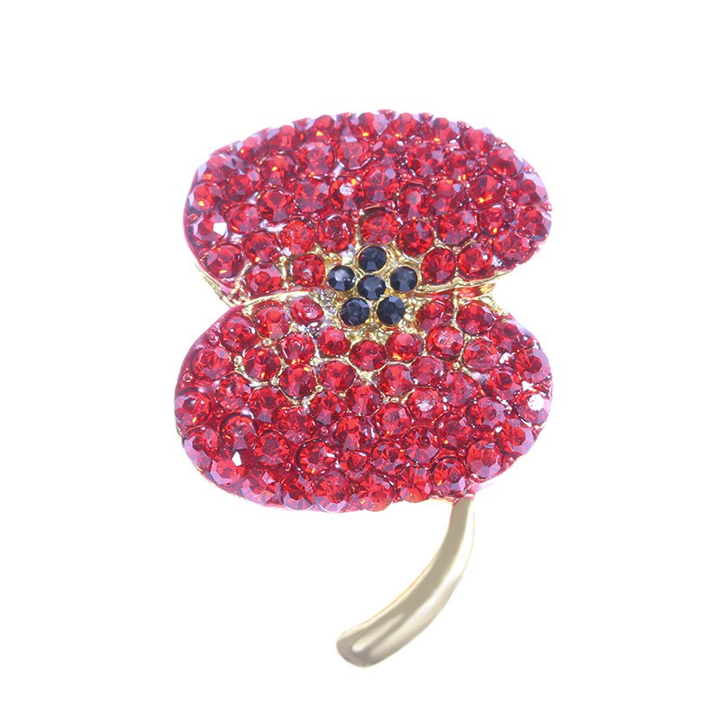 Crystal brooch fashion diamond-encrusted poppy brooch brooch new poppy pin