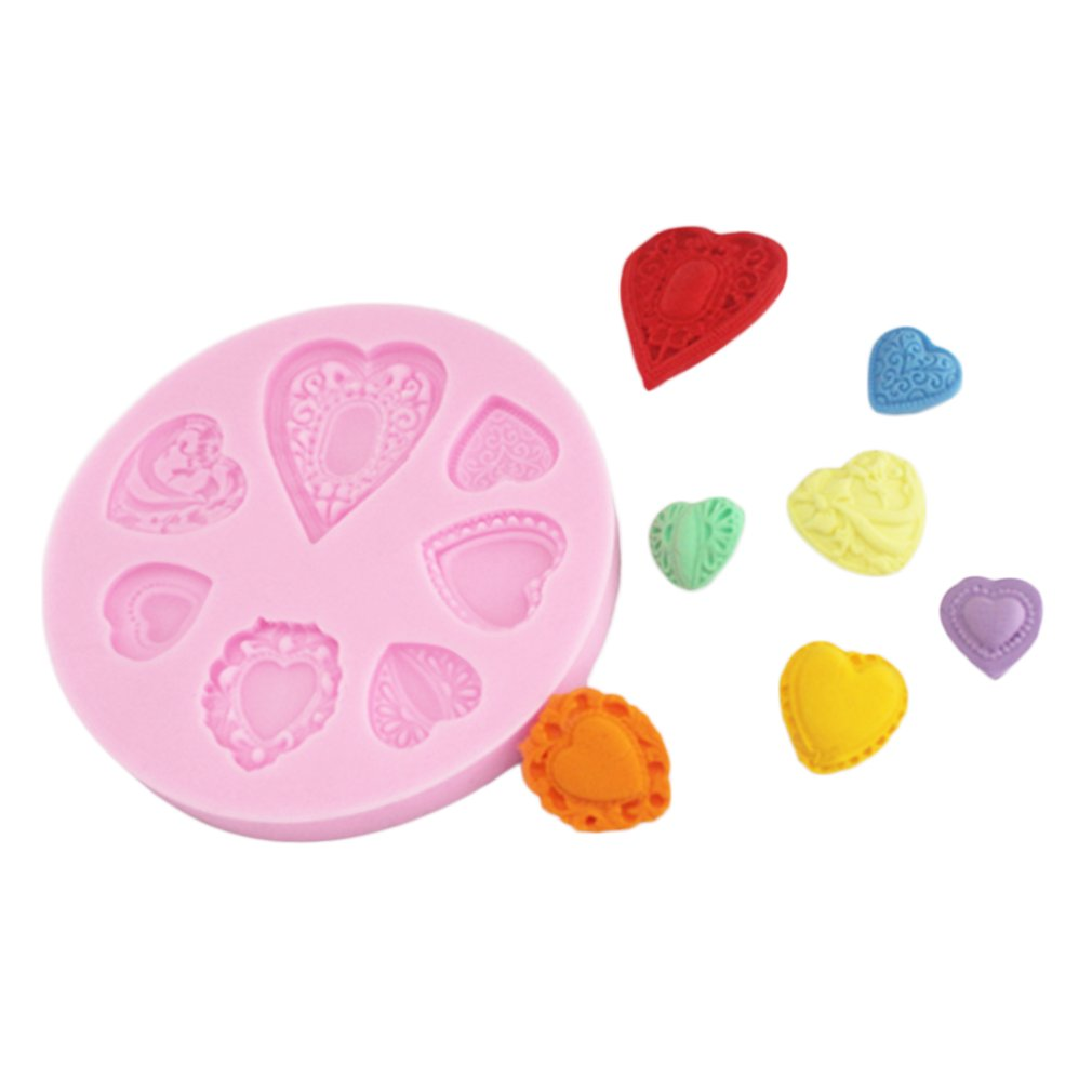 Loving Heart Lace Shaped Cake Fondant Mold 3D Silicone Molded Decorating Tool