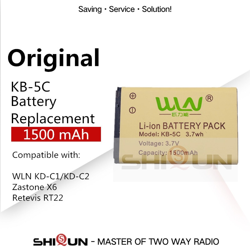 Original KB-5C Battery for WLN KD-C1 KD-C2 Mini Walkie Talkie UHF Two Way Radio Compatible with X6 RT22 Battery 3.7V 1500 mAh