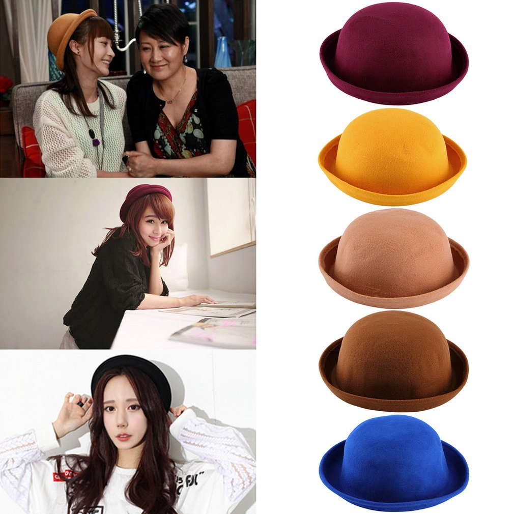 Fashion Lady Vintage Women's Wool Cute Trendy Bowler Derby Hat Cap