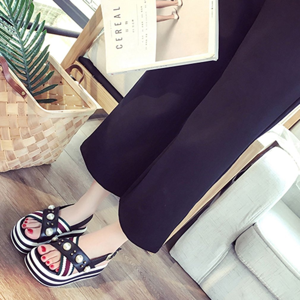 Fashion Summer Woman Sandals Flat Shoes Comfortable All-match Style Open Toe Slip-on Slippers Platform Shoes Casual Wear Shoes