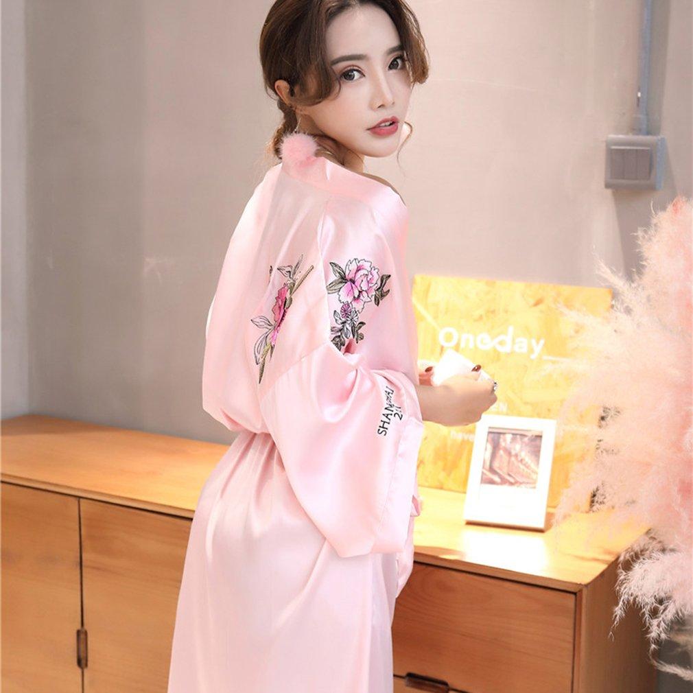 Sexy Women Silk Satin Short Night Robe Fashionable Embroidery Bath Robe