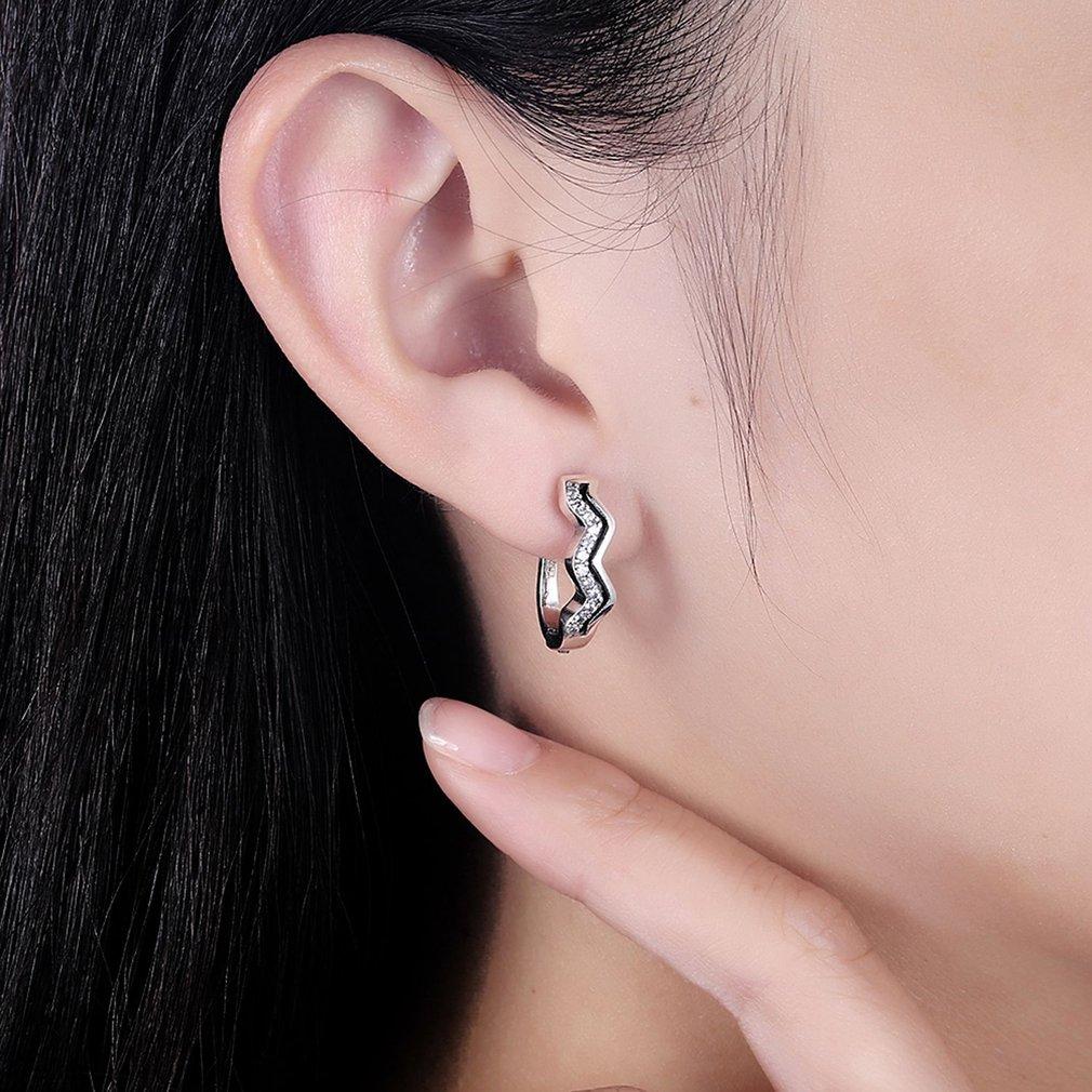 925 Sterling Silver Women Luxury AAA Zircon Earrings Fashionable Wave Shape Ladies Female Trendy Ear Clips Jewelry