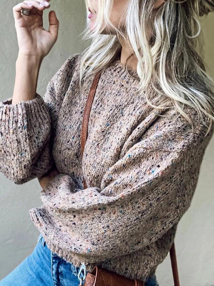 casual round neck loose long puff sleeves short sweater