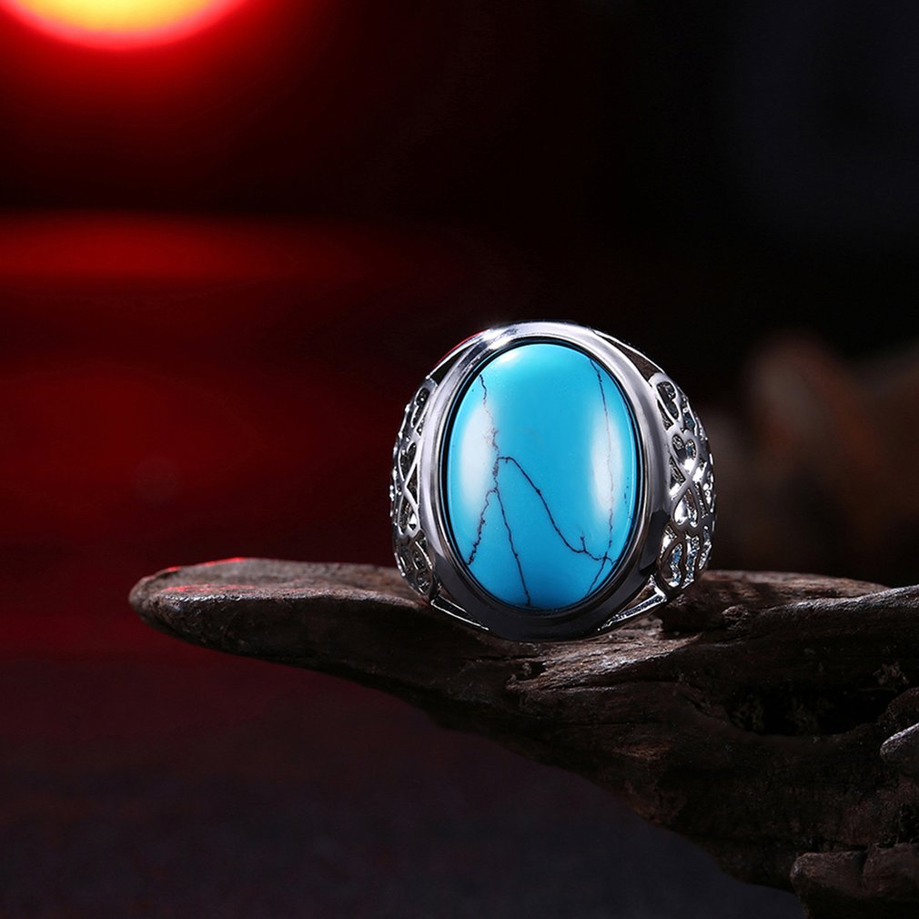 Silver Color Hollow Kallaite Finger Rings Women Fashion Party Dress Jewelery
